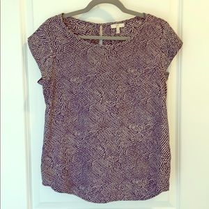 Joie navy and cream short sleeve blouse size s